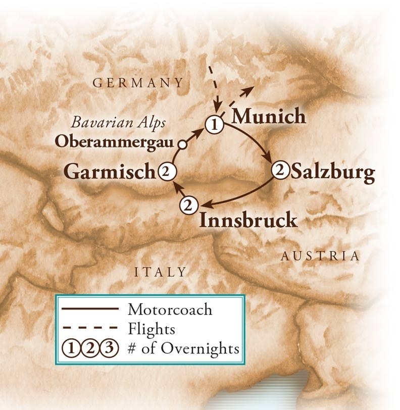Tour Map for Austria & Germany with Oberammergau & Agricultural Highlights