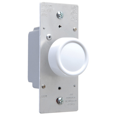 Rotary R Series 600W Incandescent RFI Dimmers Preset Three-Way White