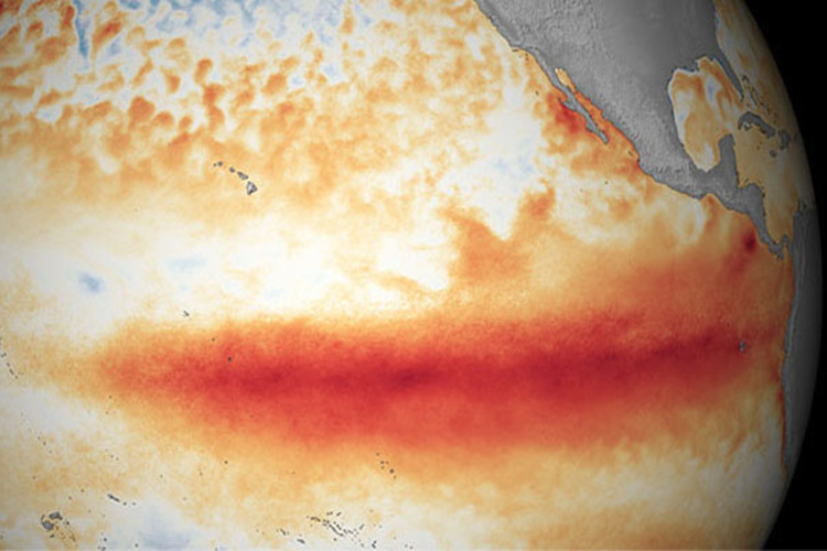 Global representation of El Nino sea surface temperature anomaly along the equator.