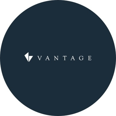 Vantage logo with navy blue background