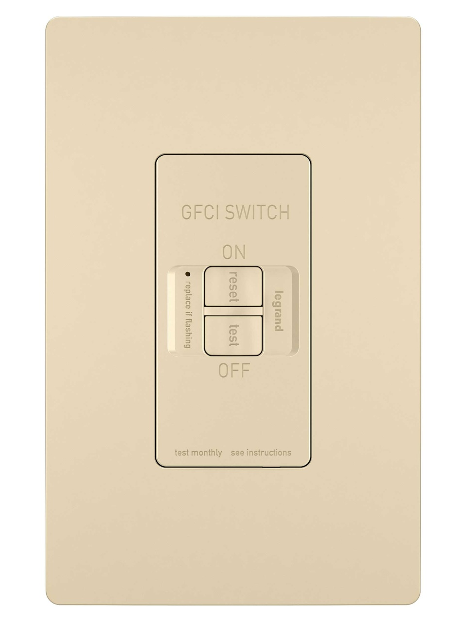 Spec-Grade Dead Front 20A Self-Test GFCI Receptacle, Ivory