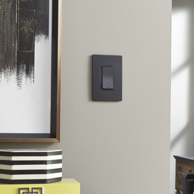 black light switch on gray wall next to black and white wall art
