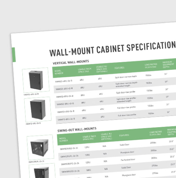 Wall Mount Cabinet Specification Comparison Sheet