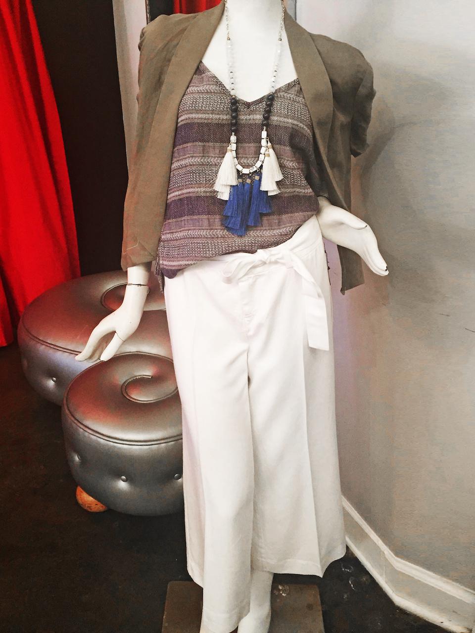 From Theadora Abbeyluxe: Lilla P jacket, $172; Sloane Rouge indigo tank, $89; Ecru white wide-leg cropped pant, $180