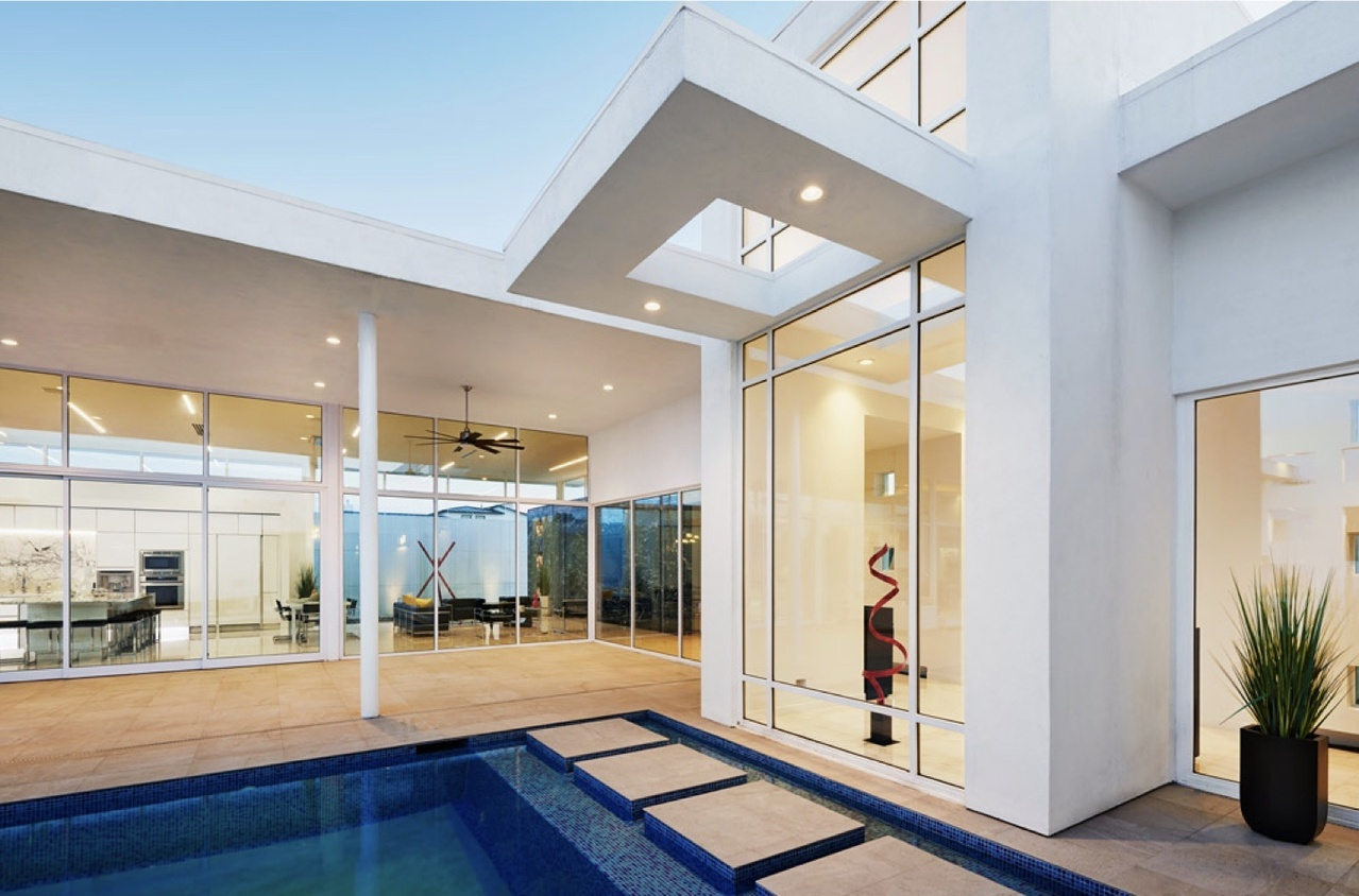 Exterior of a luxury home with Vantage Human Centric Lighting system