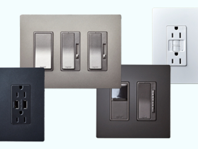 black USB outlet, three metallic nickel switches and dimmers, metallic dark bronze sensors and dimmers, and a white GFCI outlet