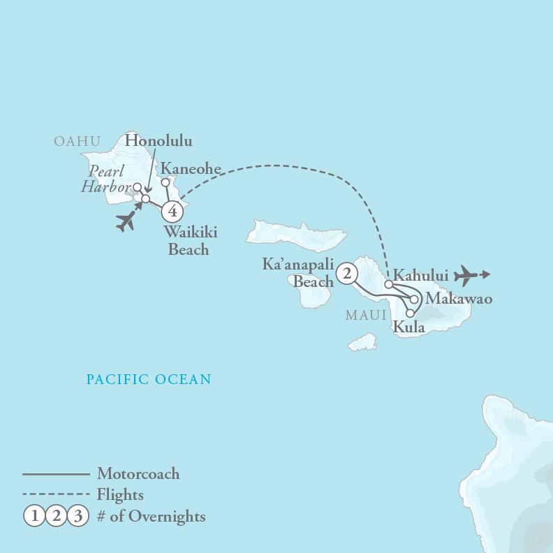 Tour Map for Honolulu Highlights & Majestic Maui