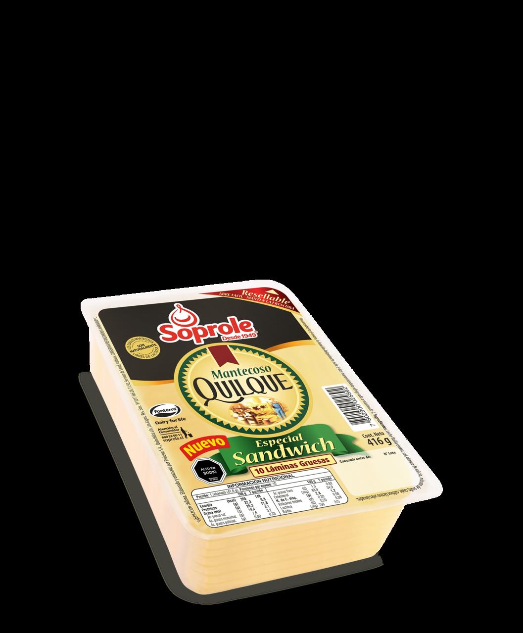 Soprole queso quilque mantecoso sandwich 416g