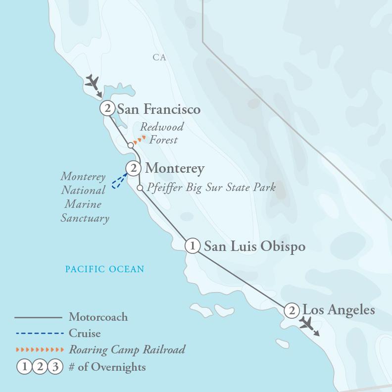 Tour Map for San Francisco & the California Coast