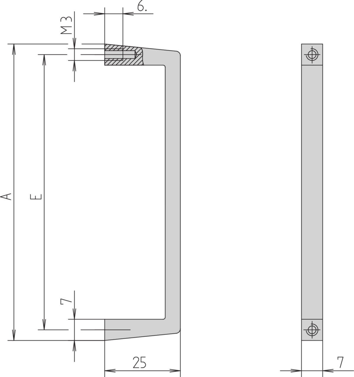 Image for Front handle, Width 7 mm from Schroff - North America