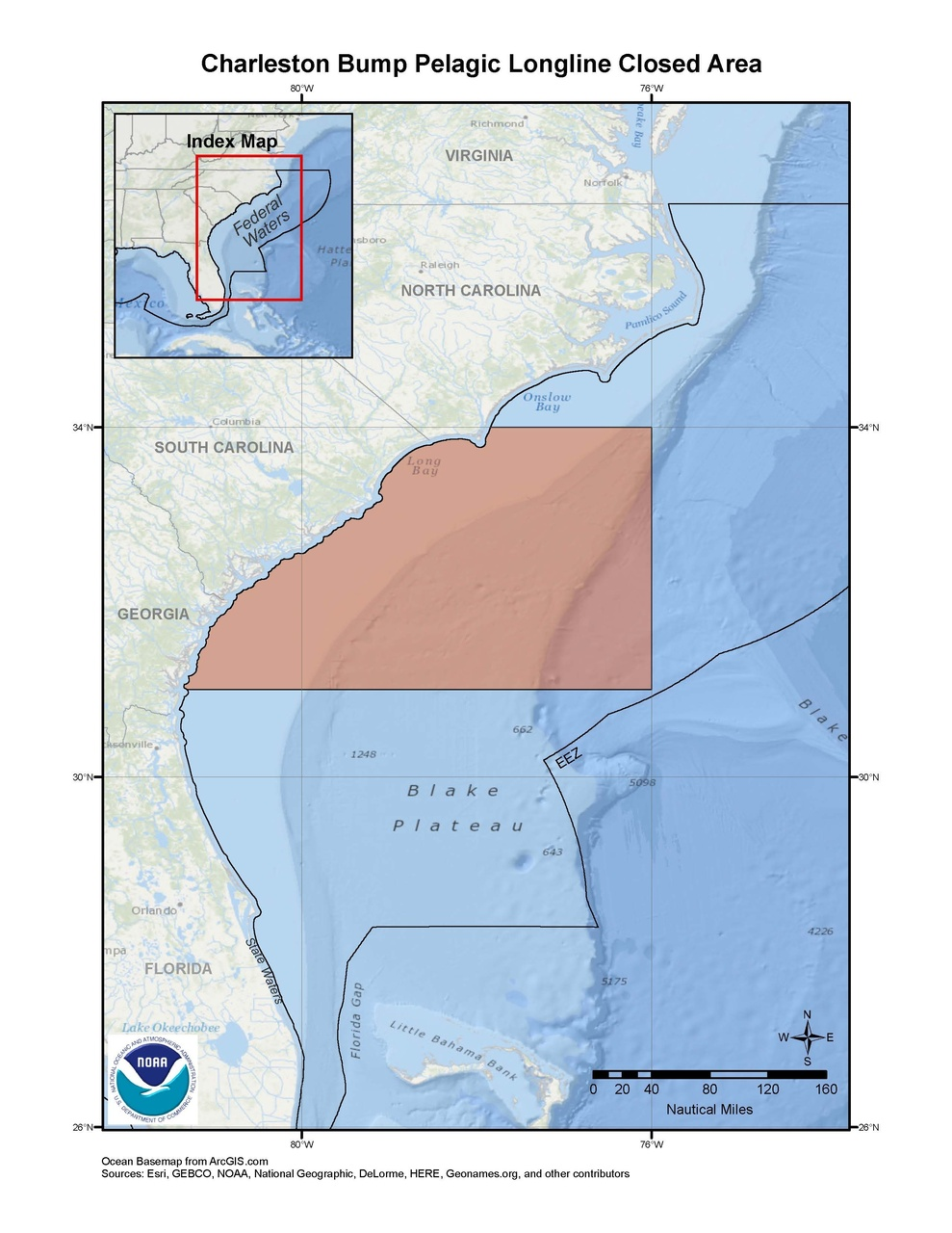 This is a map of Charleston Bump pelagic longline closed area in the South Atlantic Region.