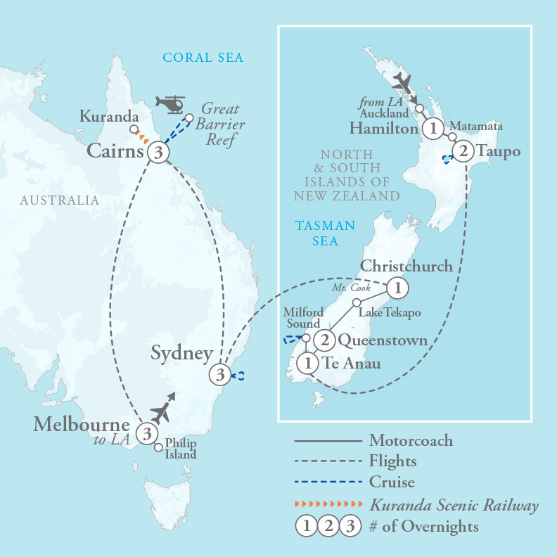 Tour Map for Australia & New Zealand Highlights
