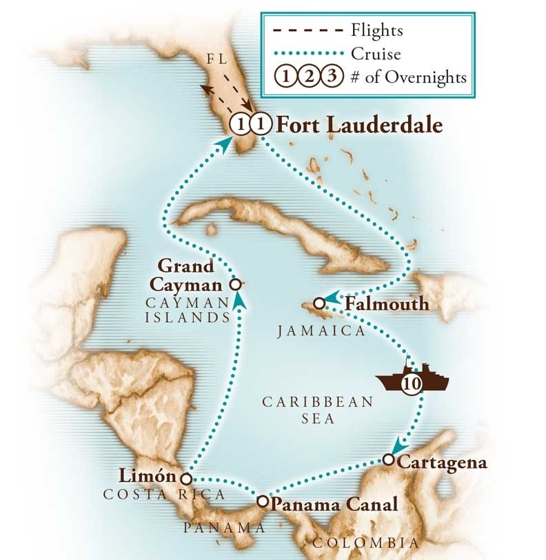 Tour Map for Panama Canal with Princess Cruises