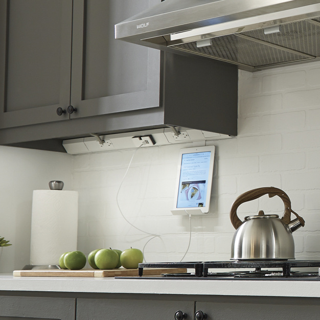 adorne Under Cabinet Lighting in white and gray kitchen