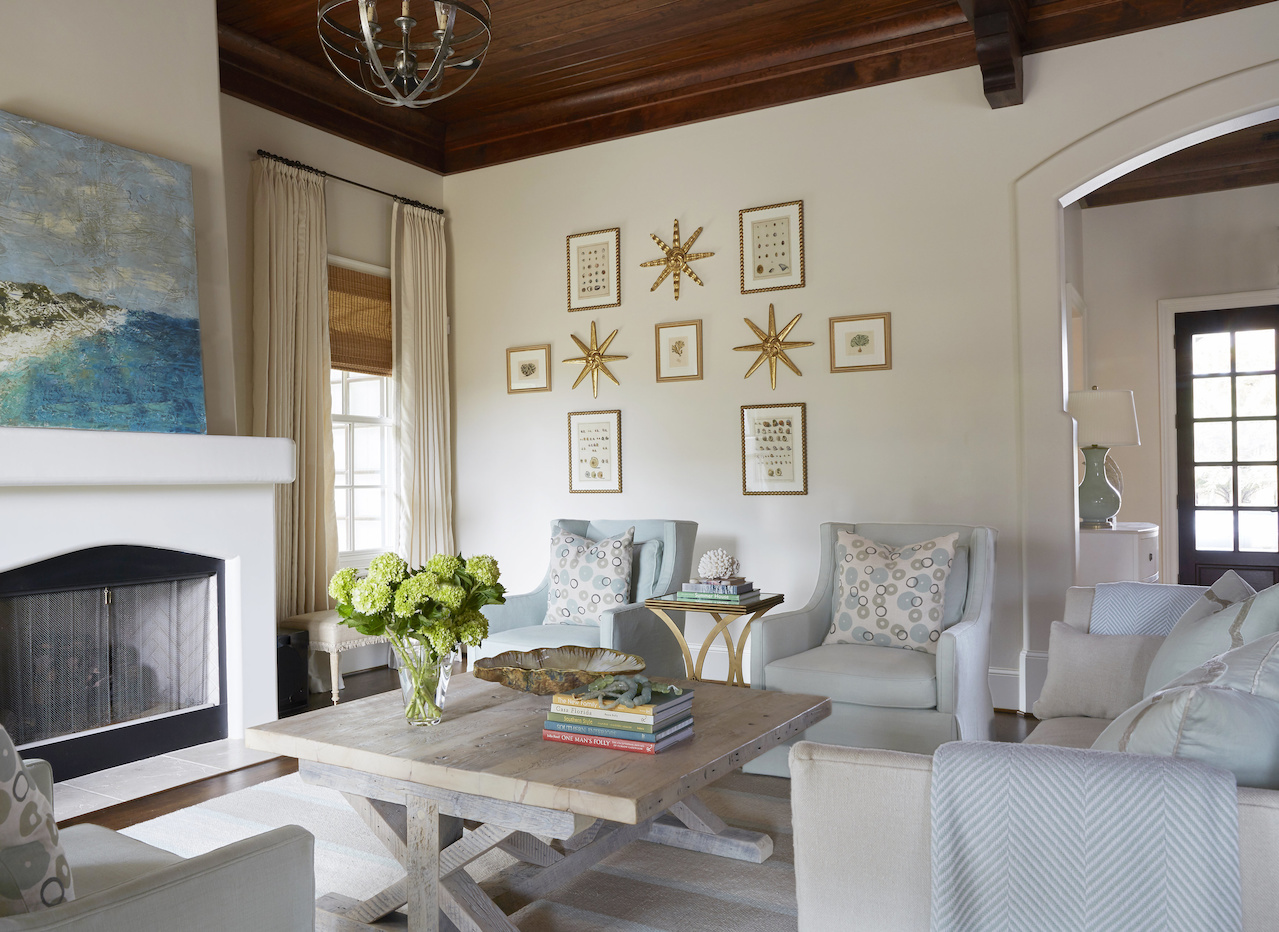 """""""I loved making it soft and fresh for the beach,"""" says Libby of this beach house, which underwent a total makeover. This living room was once all red, gold and chocolate."""