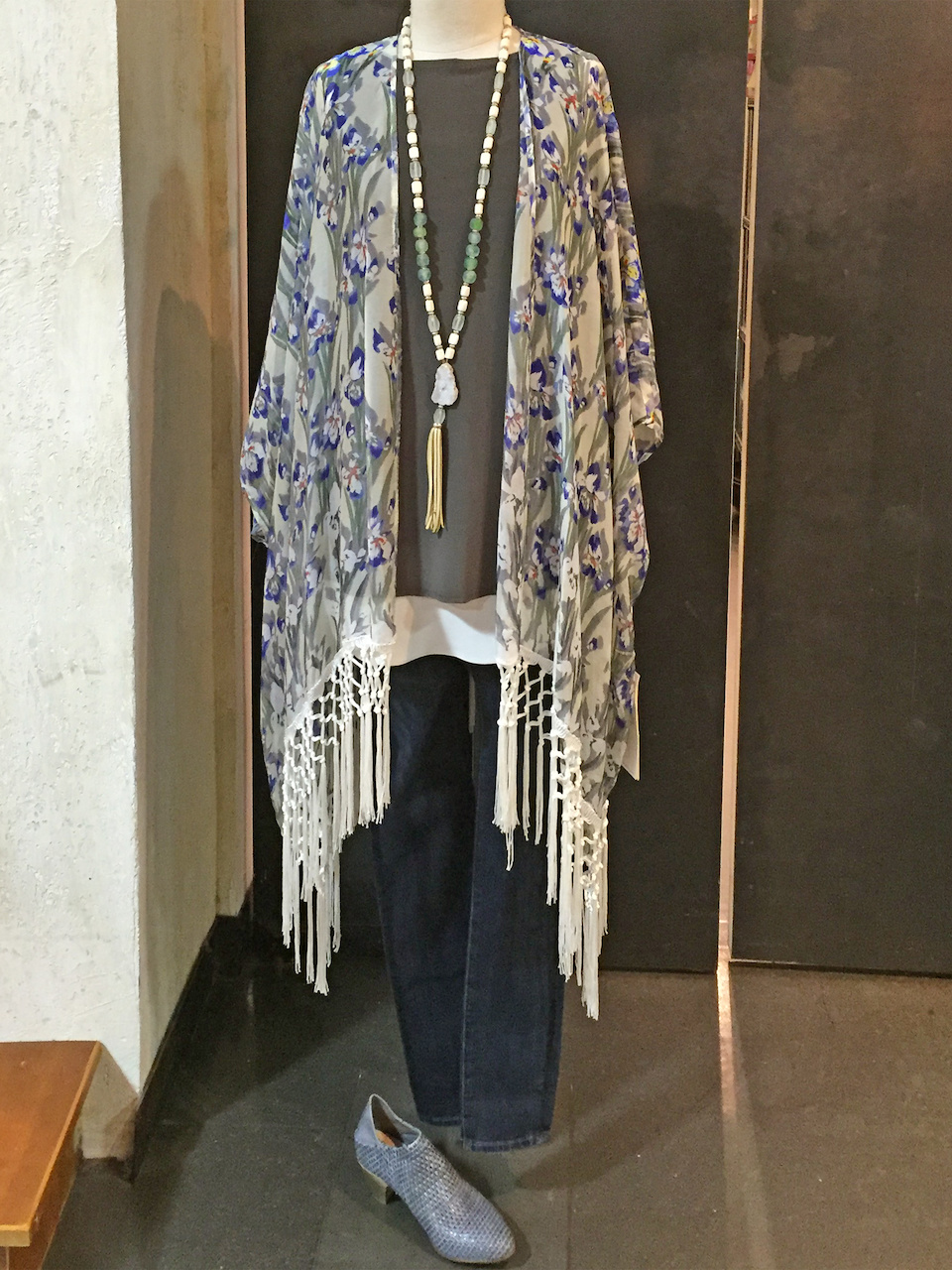 From Betsy Prince: Love & Liberty Iris fringe jacket, $231; Sympli olive tank, $80; AG Farrah Skinny jean in dark wash, $205
