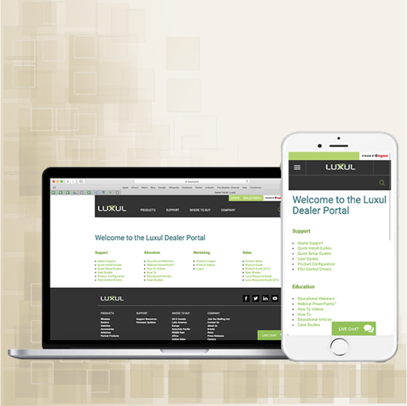 Luxul Dealer Portal on Macbook and iPhone
