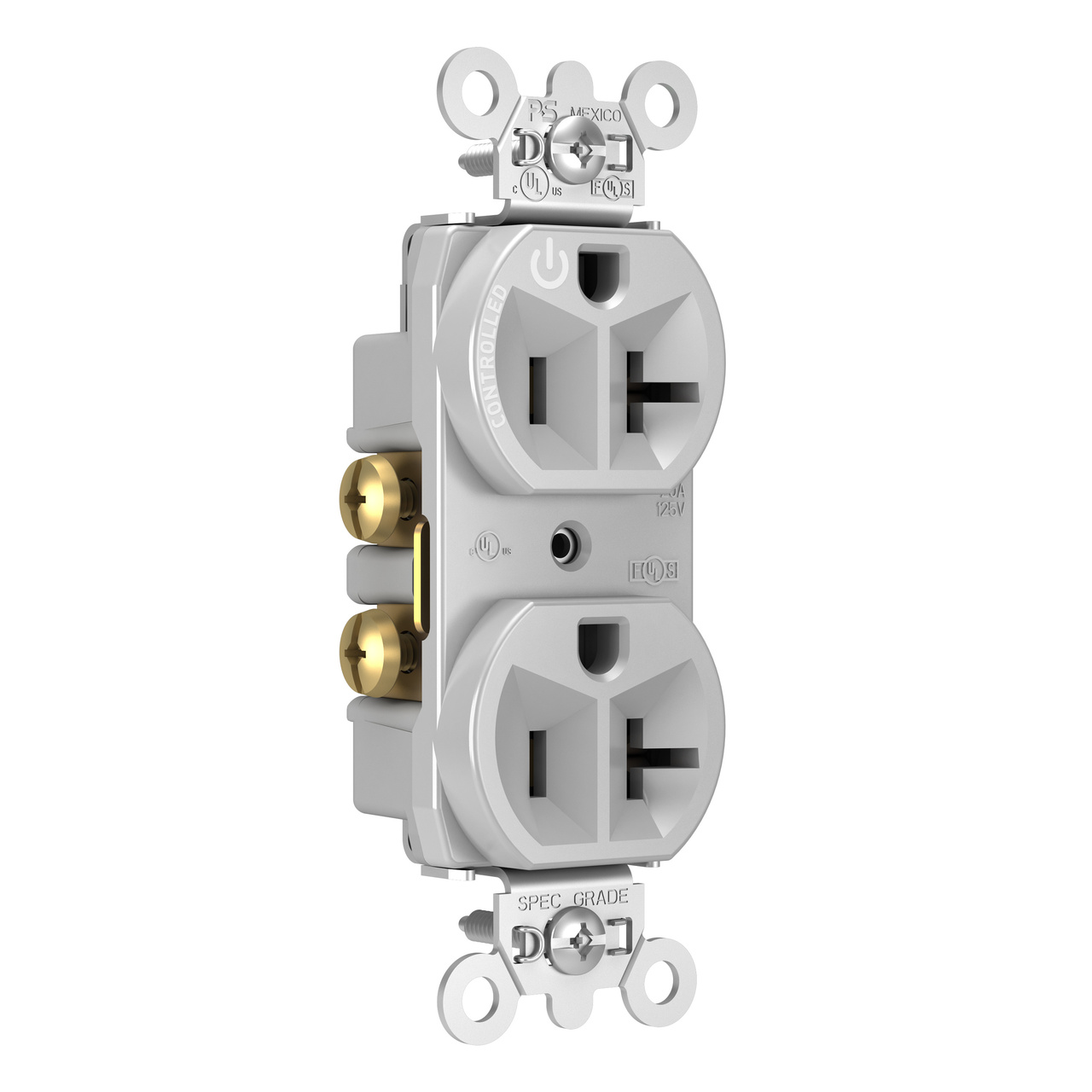 20A, 125V Half-Controlled Plug Load Controllable Receptacle, Gray