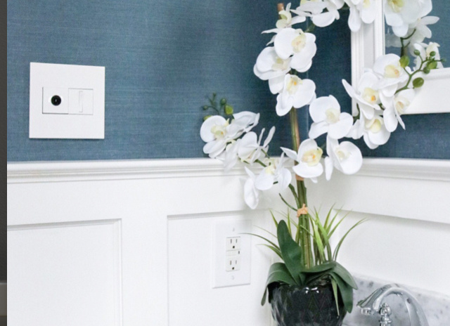white adorne wave switch and whisper switch in blue bathroom
