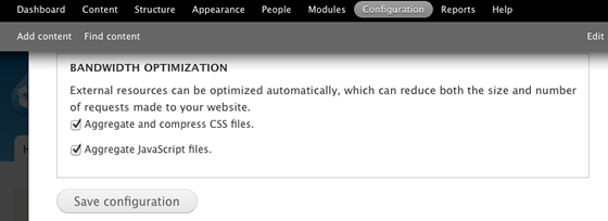 Enable CSS and JS aggregation D7