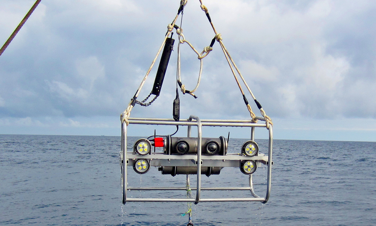 Deploying the underwater stereo camera system in the eastern Bering Sea.