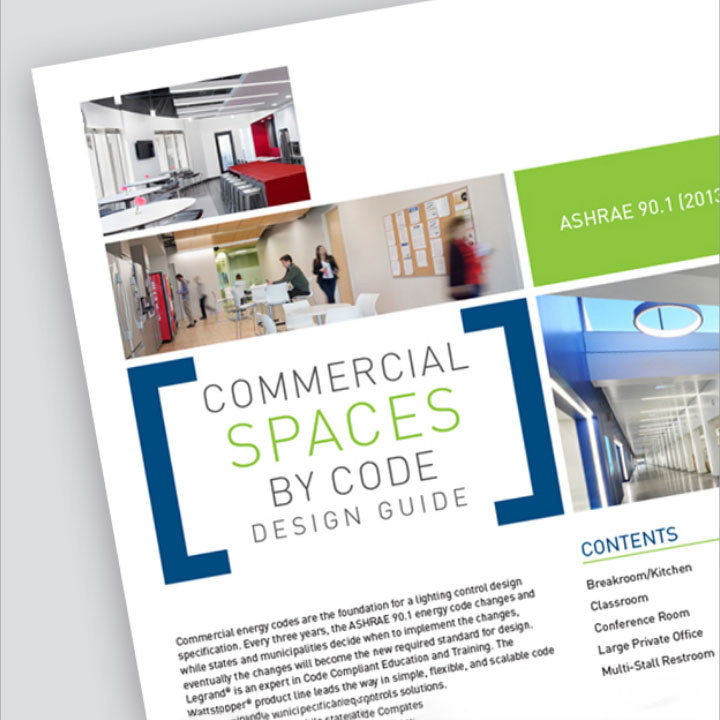 Front page to Wattstopper's ASHRAE 90.1 (2013) Design Guide in front of a grey background