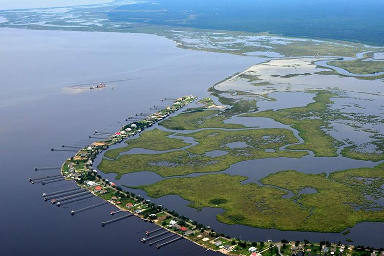 Aerial view of coastal Louisiana