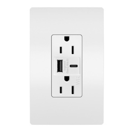usb type-ac outlet with screwless wall plate