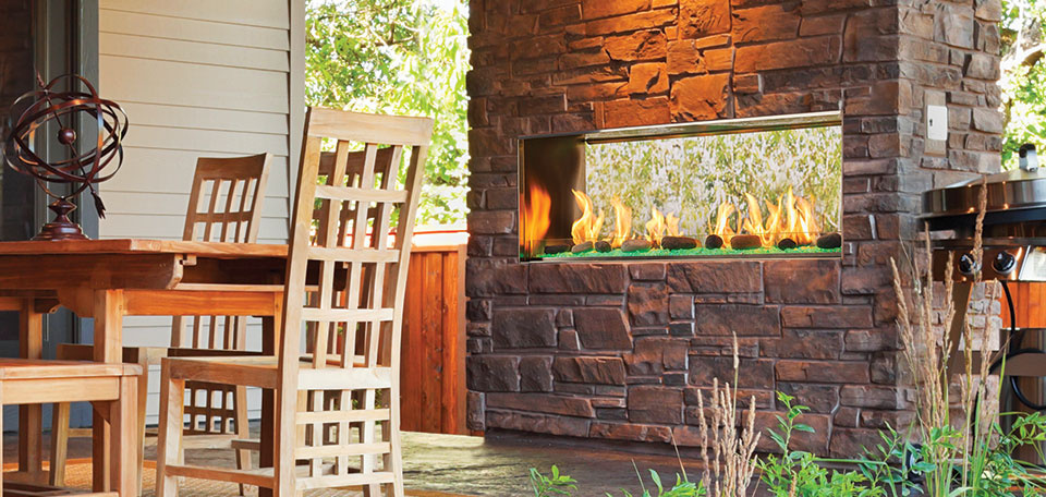 Outdoor Lifestyles Lanai See-Through Gas Fireplace