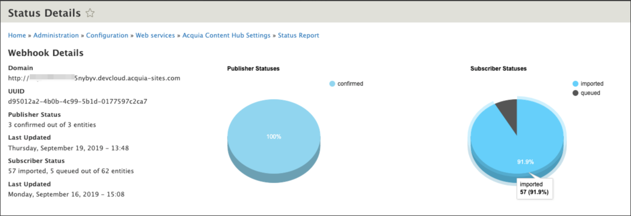Status details page displays a client's webhook details