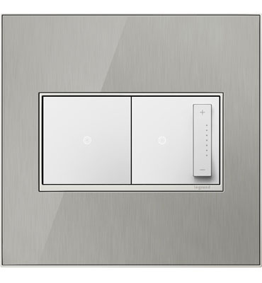 adorne 2-Gang Brushed Stainless Wall Plate