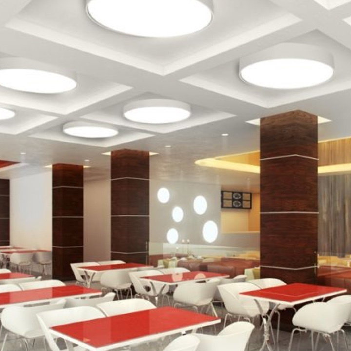 FINA Lighting on ceiling and wall in cafe with red tables