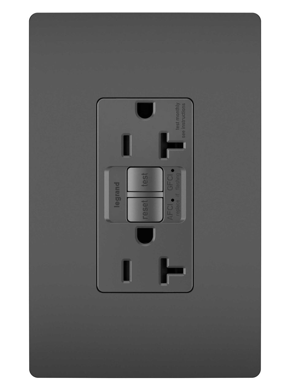 Dual Function Tamper-Resistant 20A AFCI/GFCI Receptacle, Black