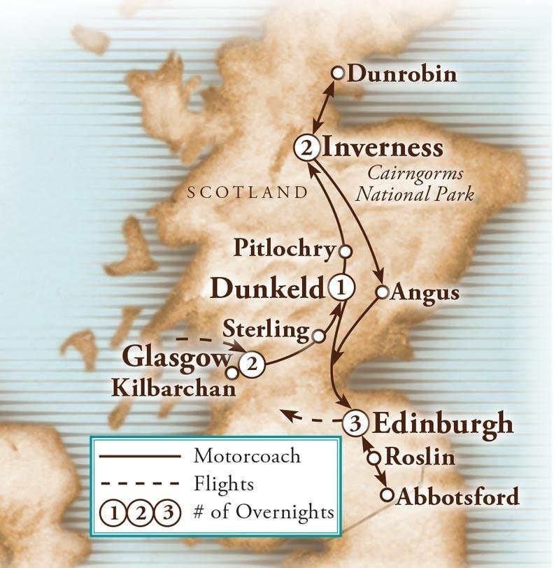 Tour Map for Scotland's Glens & Highlands