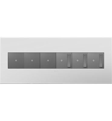 adorne 6-Gang Powder White Wall Plate