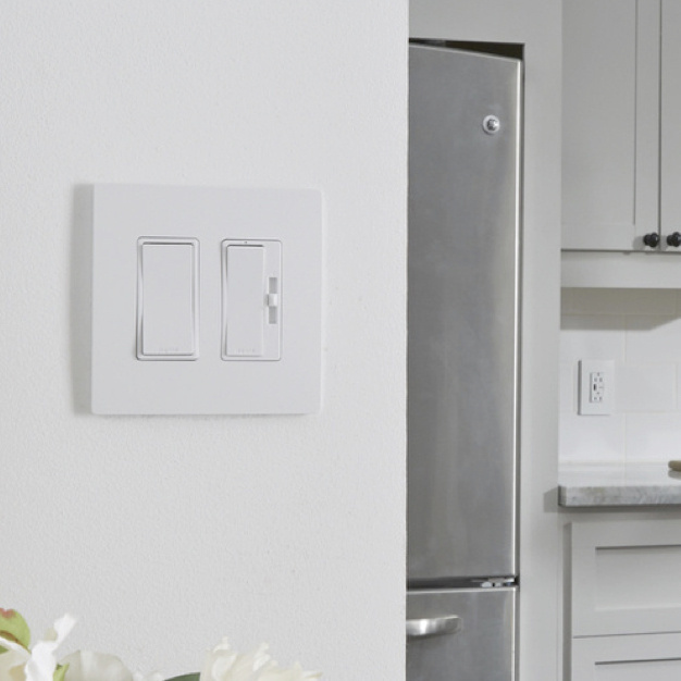 radiant collection switches and dimmers in modern kitchen