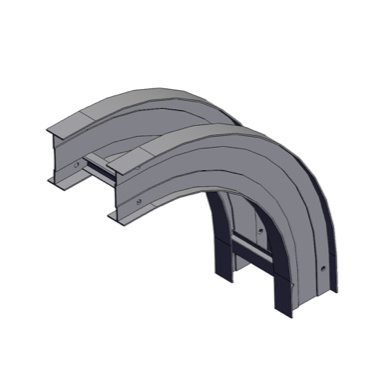 Cable tray 3D rendering of metallic vertical fitting elbow outside 90 degree section