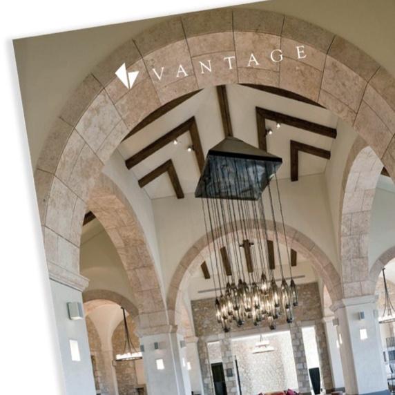 Vantage Logo on ceiling top