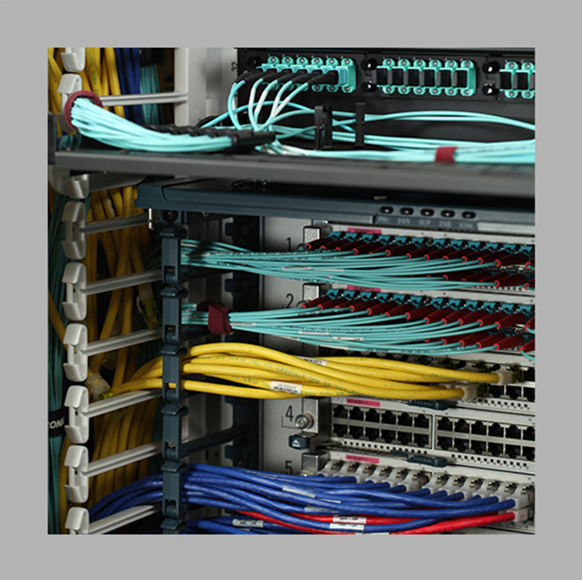 Legrand data communications cables in a rack space