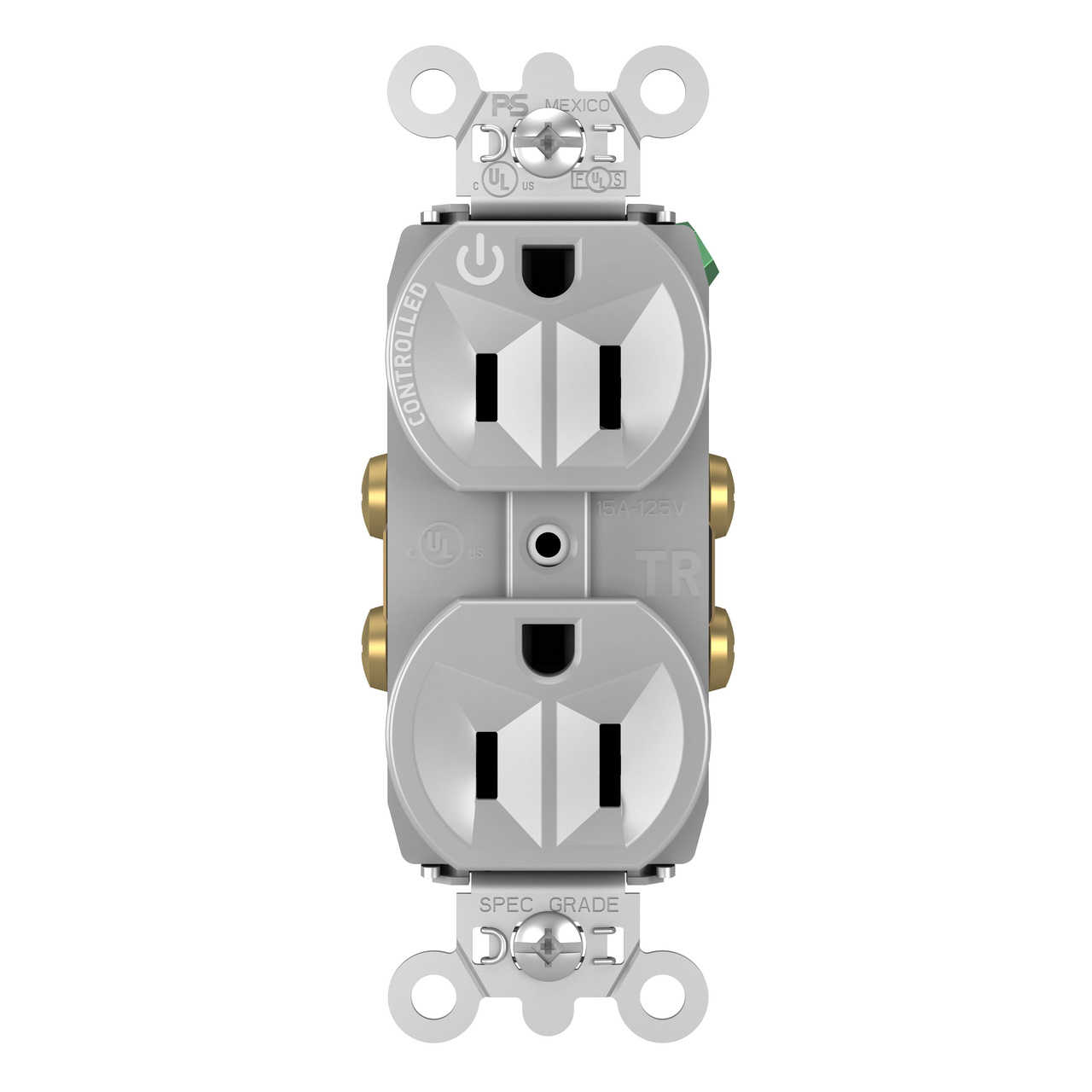 Hard-Use Spec Grade Plug Load Controllable Receptacle, 15A, 125V, Gray