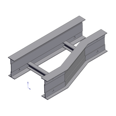 Cable tray 3D rendering of metallic horizontal fitting reducer left section