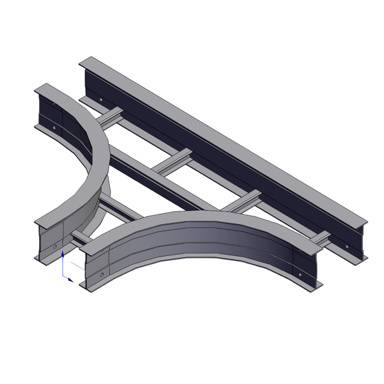 Cable tray 3D rendering of metallic horizontal fitting standard T section