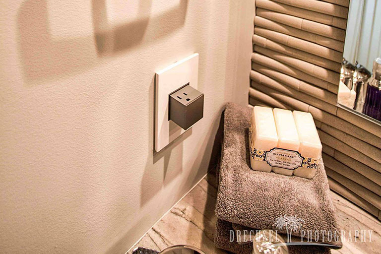 adorne Pop-Out Outlet in bathroom