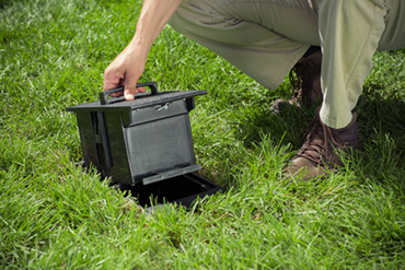 Wiremold Outdoor Ground Box opening in grass