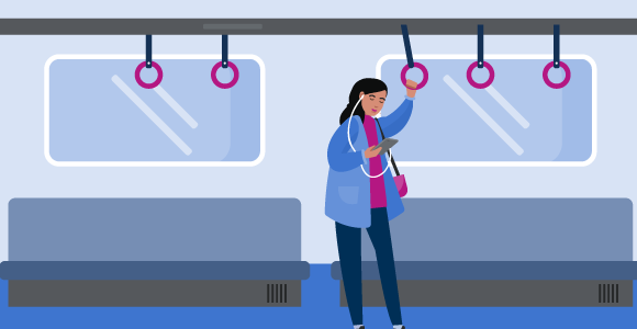 Illustration of a girl on a train listening to a podcast