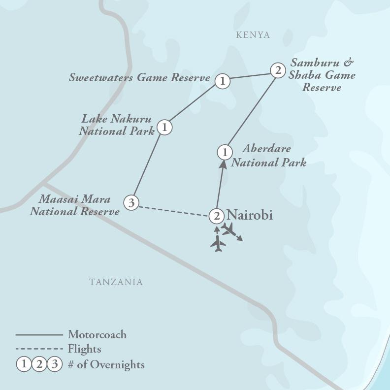 Tour Map for African Safari