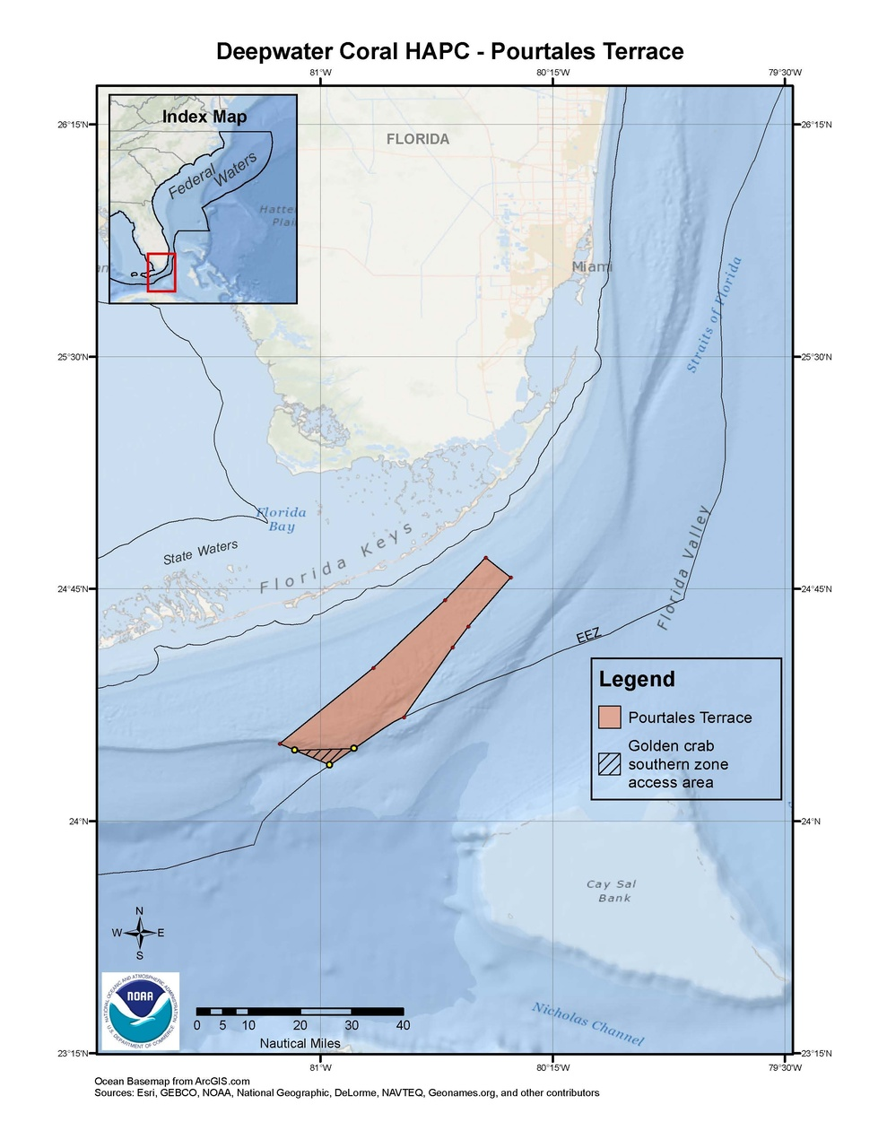 This is a map of Pourtales Terrace Deepwater Coral HAPC in the South Atlantic Region.