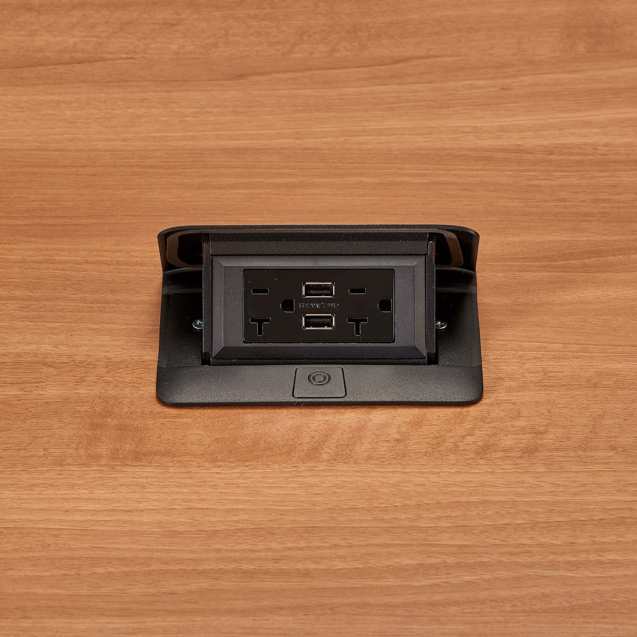 deQuorum Flip-Up Table Box 1-Gang 20A recep 3.1A USB, black finish-open view, DQFP20UBK