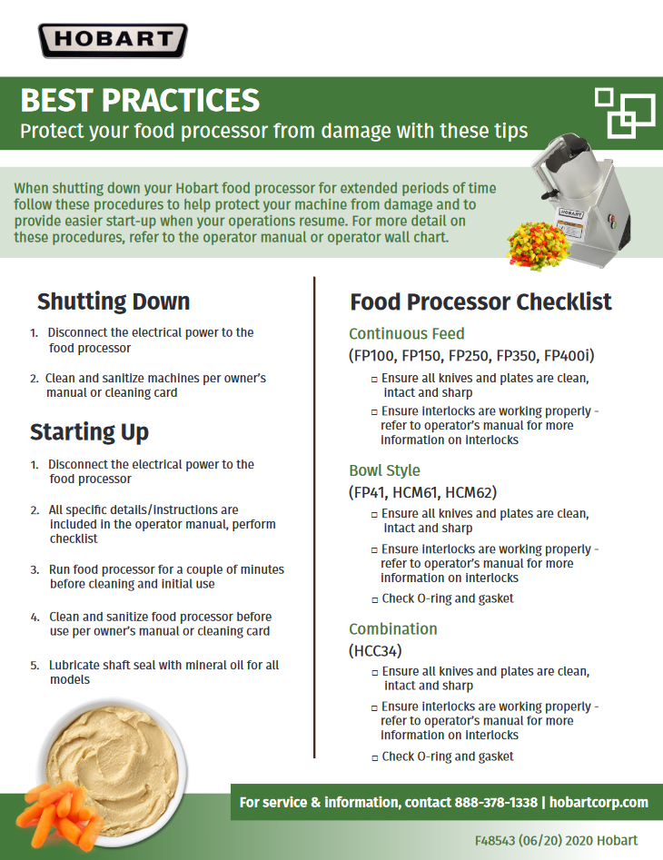 Food Processor Checklist