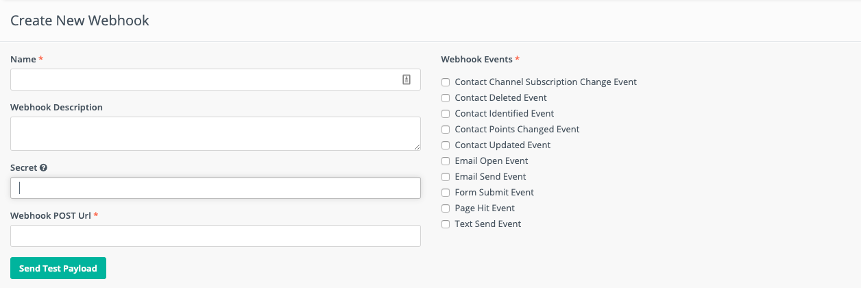 Create a new webhook dialog box